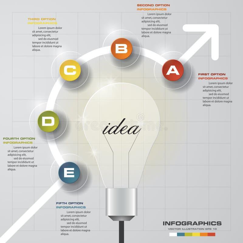 5 étapes progressent sur le calibre de fond d'idée d'ampoule Simple&Editable pour votre texte témoin illustration de vecteur