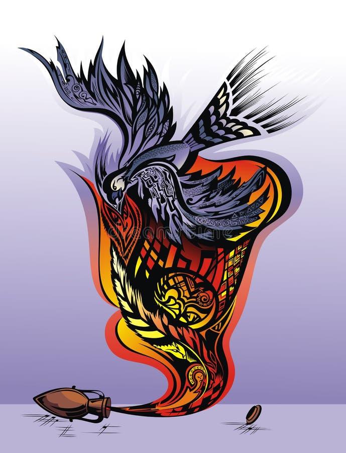 État émotif - la sensation de la liberté. Oiseau ta illustration stock