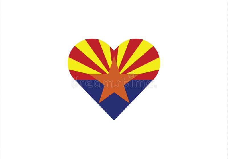 État américain Etats-Unis de forme de coeur d'amour de l'Arizona illustration stock