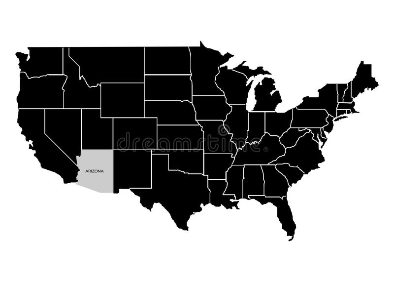 État Arizona sur la carte de territoire des Etats-Unis Fond blanc Illustration de vecteur illustration de vecteur