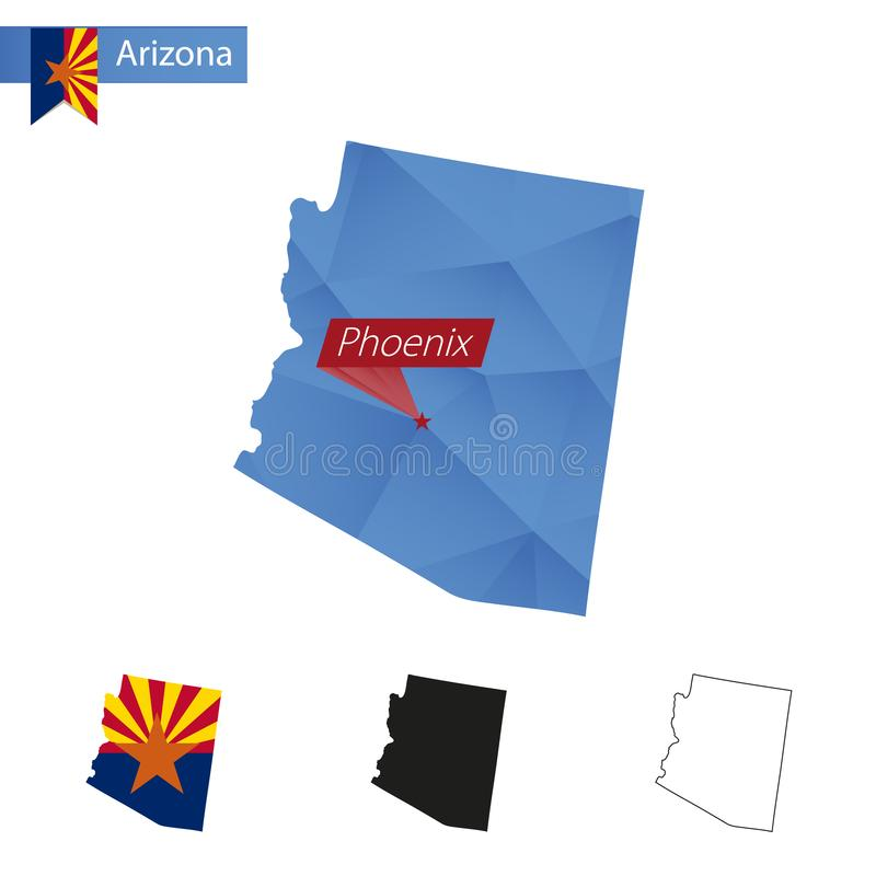 État carte bleue d'Arizona de basse poly avec la capitale Phoenix illustration libre de droits