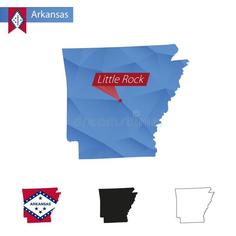 État carte bleue d'Arkansas de basse poly avec la capitale Little Rock illustration stock