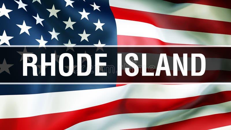 État d'Île de Rhode sur un fond de drapeau des Etats-Unis, rendu 3D Drapeau des Etats-Unis d'Amérique ondulant dans le vent Indic illustration stock