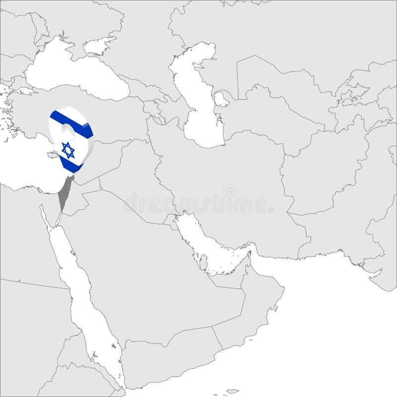 État d'Israel Location Map sur la goupille d'emplacement de marqueur de carte de drapeau de Moyen-Orient 3d Israël de carte Carte illustration libre de droits