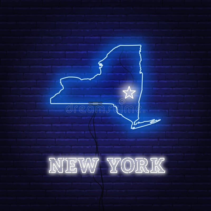 ?tat de carte de New York au n?on sur un fond de mur de briques illustration stock