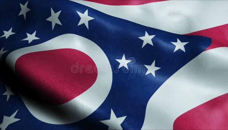 État de drapeau de ondulation d'Ohio dans 3D illustration libre de droits