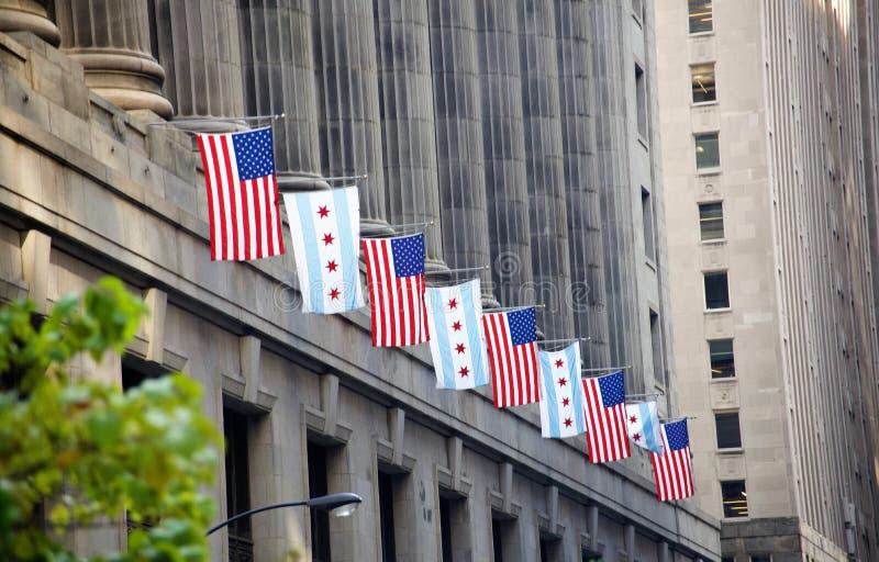 État de drapeaux de construction Chicago, l'Illinois de l'Illinois images libres de droits