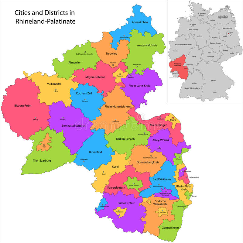 État de l'Allemagne - le Rhénanie-Palatinat illustration libre de droits