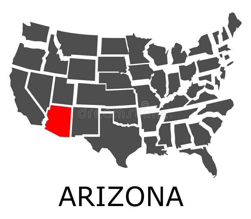 État de l'Arizona sur la carte des Etats-Unis illustration stock