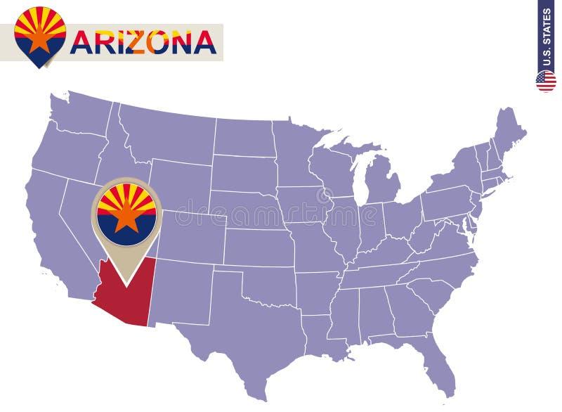 État de l'Arizona sur la carte des Etats-Unis Drapeau et carte de l'Arizona illustration de vecteur