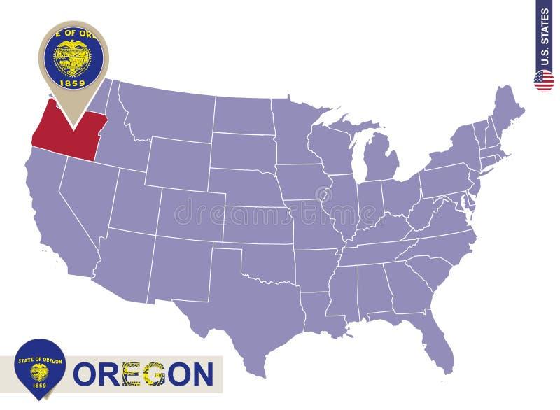 État de l'Orégon sur la carte des Etats-Unis Drapeau et carte de l'Orégon illustration de vecteur