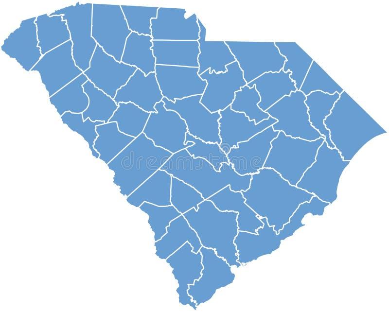 État de la Caroline du Sud par des comtés illustration libre de droits