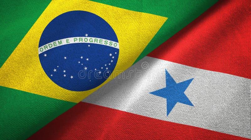 État de Para et tissu de textile de drapeaux du Brésil, texture de tissu illustration de vecteur