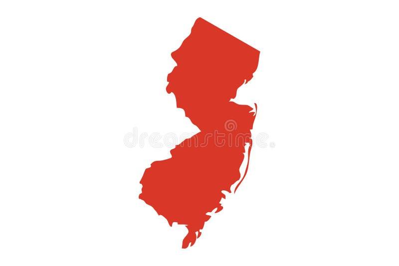 État de silhouette de carte de vecteur de New Jersey Décrivez l'icône de forme de NJ ou la carte de découpe de l'état de New Jers illustration stock