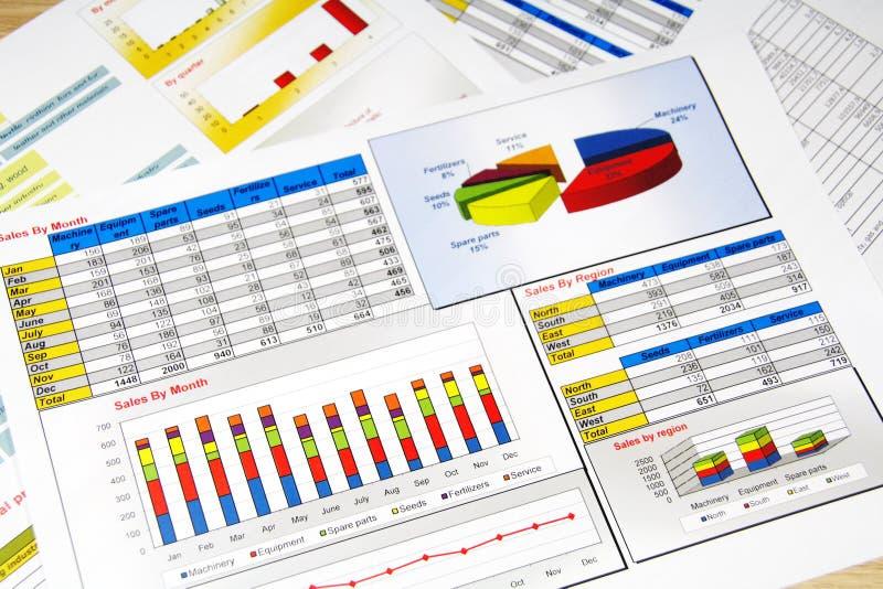 État de ventes dans les statistiques, les graphiques et les diagrammes photographie stock libre de droits