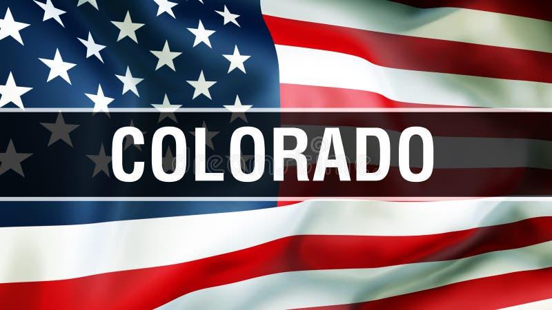 État du Colorado sur un fond de drapeau des Etats-Unis, rendu 3D Drapeau des Etats-Unis d'Amérique ondulant dans le vent Indicate illustration stock