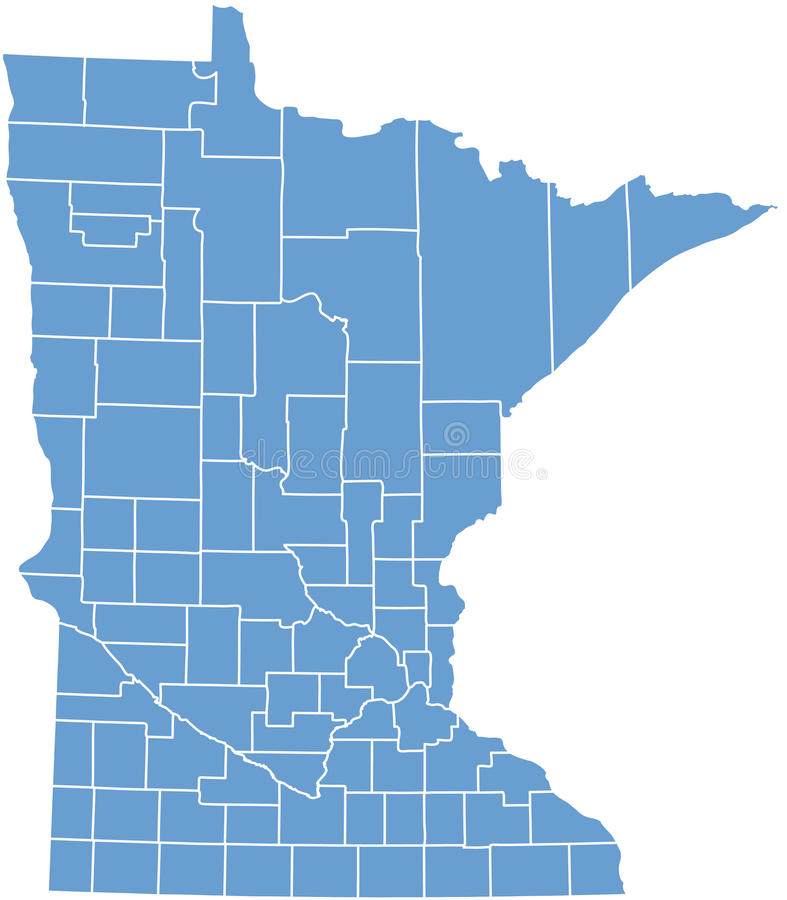 État du Minnesota par des comtés illustration stock