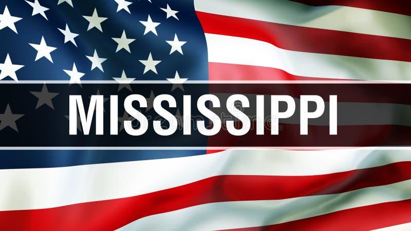 État du Mississippi sur un fond de drapeau des Etats-Unis, rendu 3D Drapeau des Etats-Unis d'Amérique ondulant dans le vent Indic illustration libre de droits