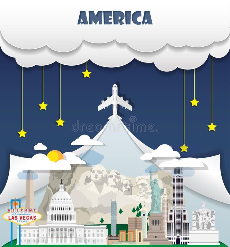 État uni de voyage global de point de repère de fond de voyage de l'Amérique illustration de vecteur