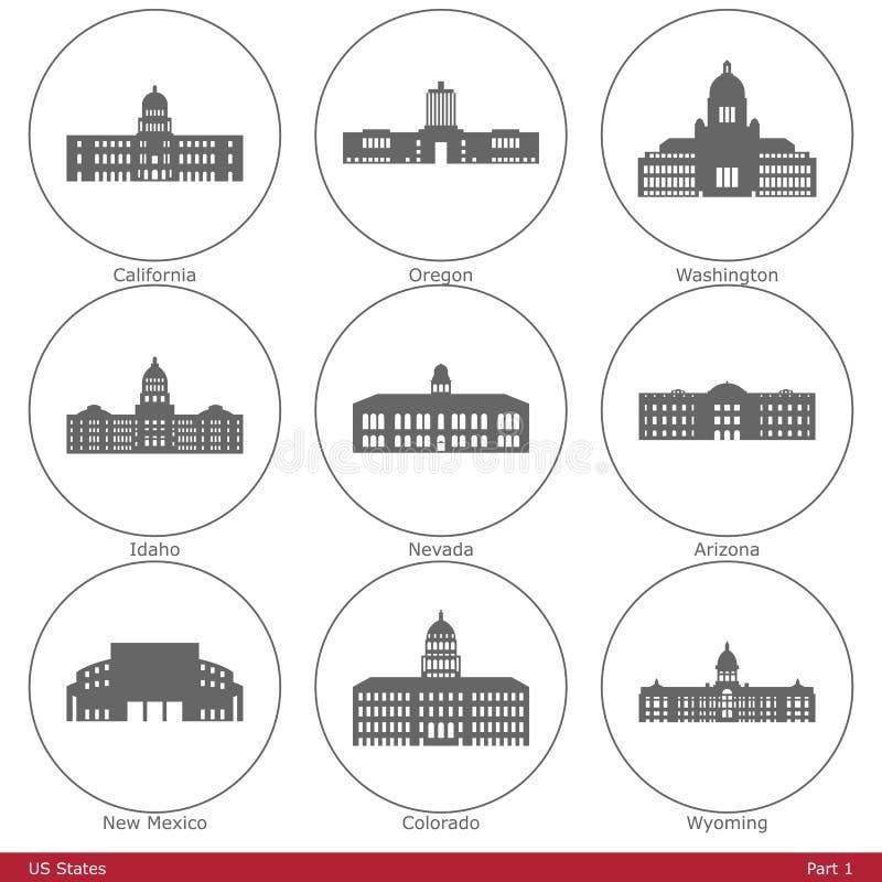 États d'USA - symbolisés par les capitols Part1 d'état illustration stock