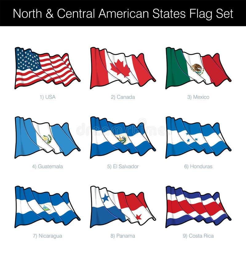 États du nord et d'Amérique centrale ondulant l'ensemble de drapeau illustration stock