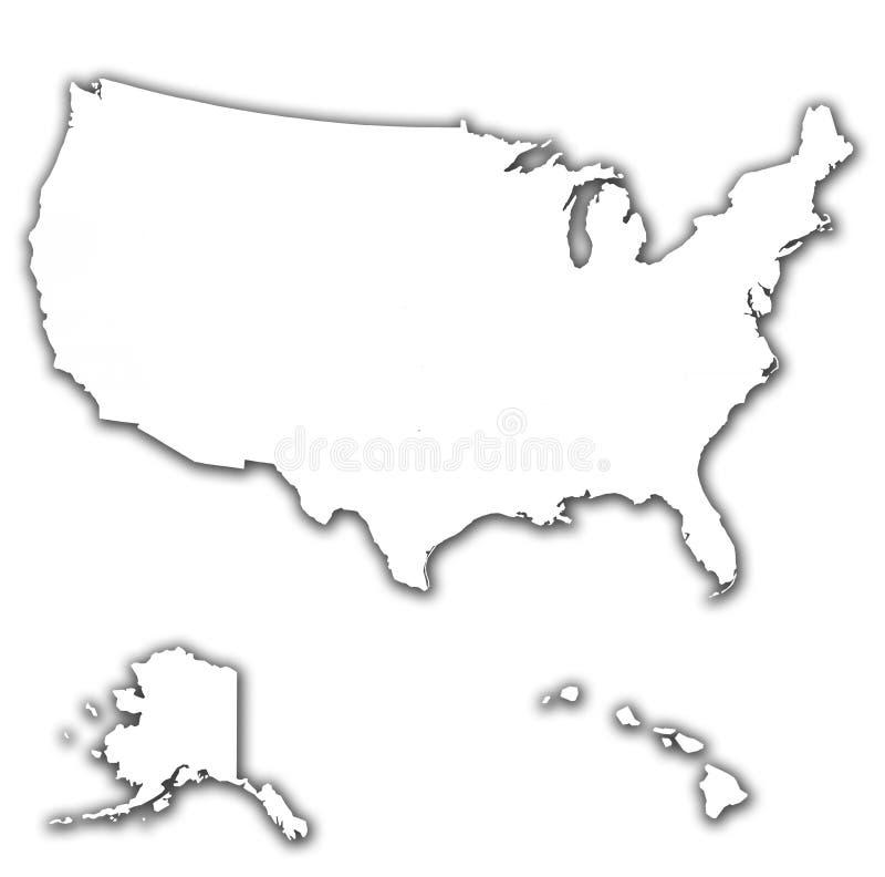 États sur la carte des Etats-Unis illustration libre de droits