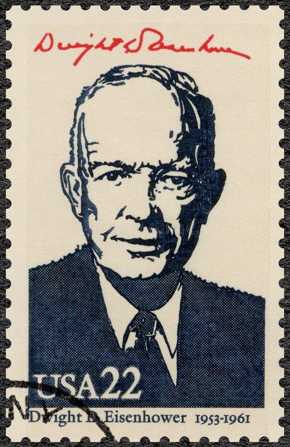 ÉTATS-UNIS D'AMÉRIQUE - 1986 : montre Portrait de Dwight D Eisenhower, 1890-1969, 34e président, séries présidentielles américain image libre de droits