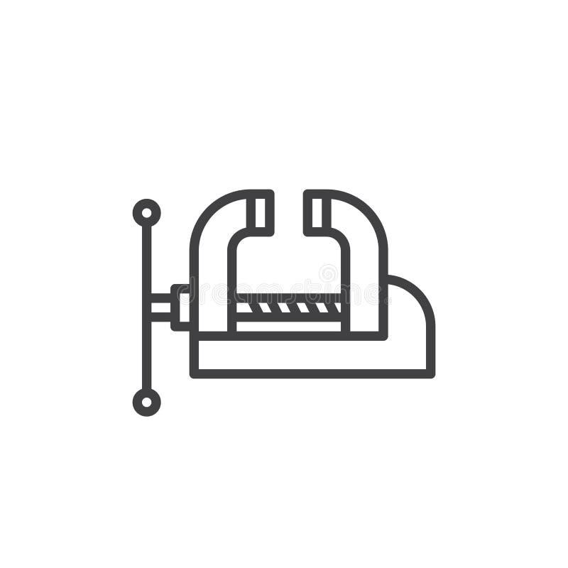 Étau de banc d'atelier, ligne icône, signe de vecteur d'ensemble, pictogramme linéaire de bride de style d'isolement sur le blanc illustration libre de droits