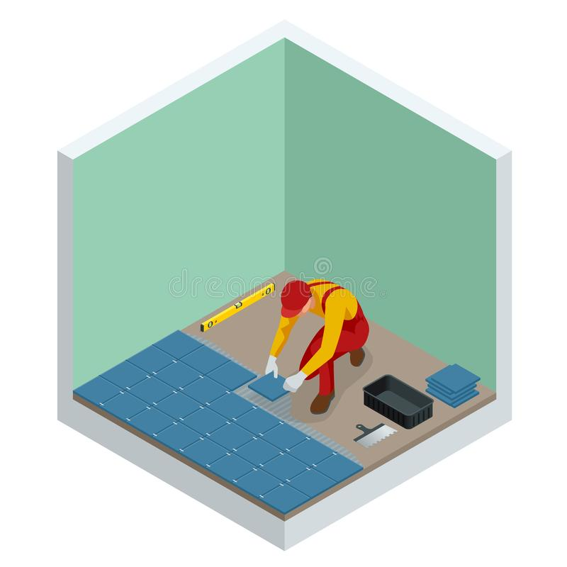 Étendant des tuiles à la maison Travailleur installant de petits carreaux de céramique sur le plancher de salle de bains et appli illustration stock