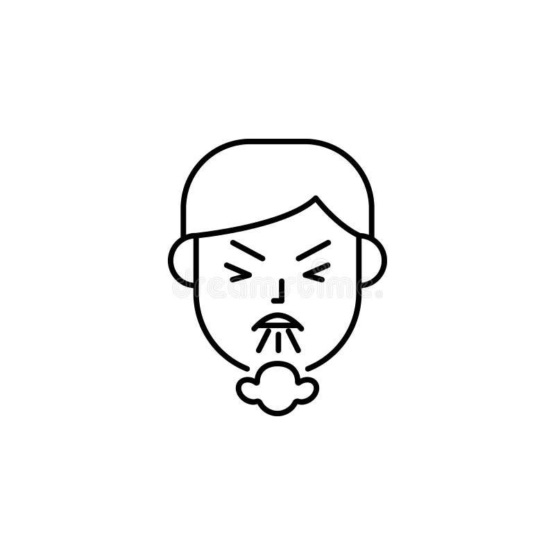 Éternuement, toux, icône allergique Élément des problèmes avec l'icône d'allergies Ligne mince icône pour la conception de site W illustration stock