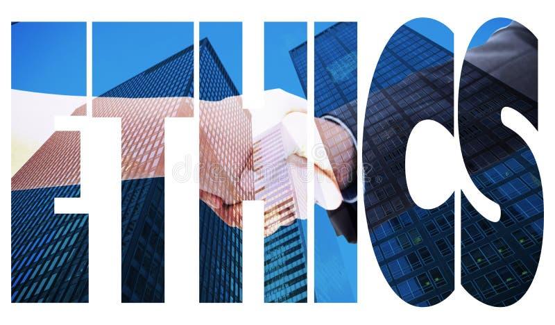 Éthique contre le gratte-ciel photographie stock