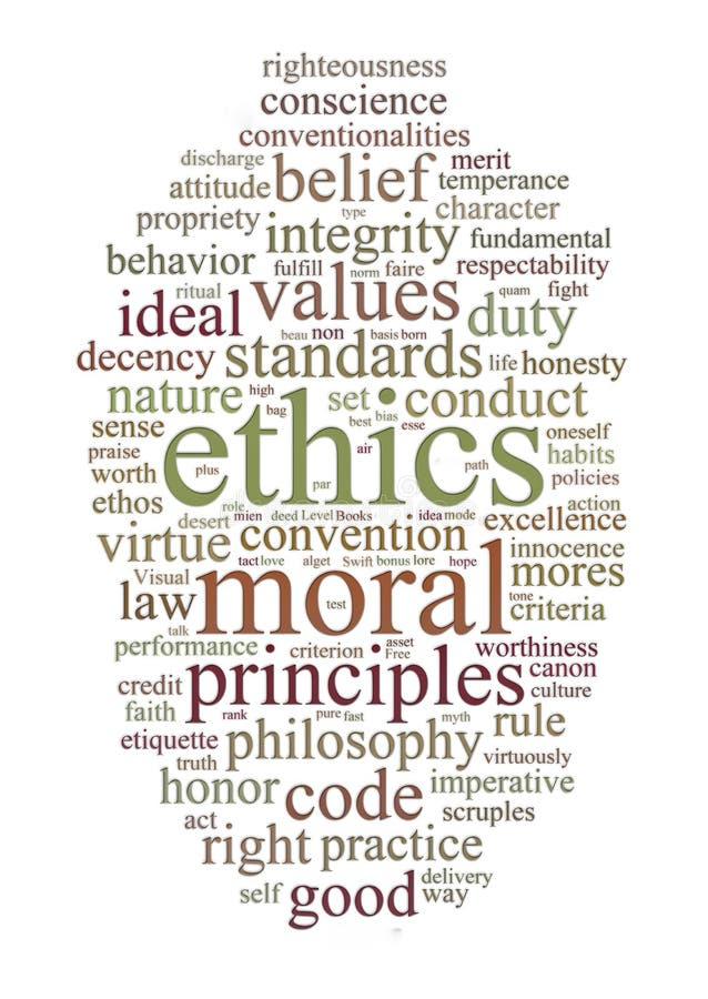 Éthique et nuage de mot de principes illustration libre de droits