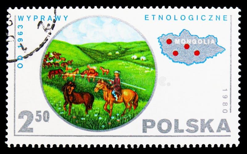 Éthnologie, Mongolie, serie scientifique polonais d'expédition, vers 1980 photo stock