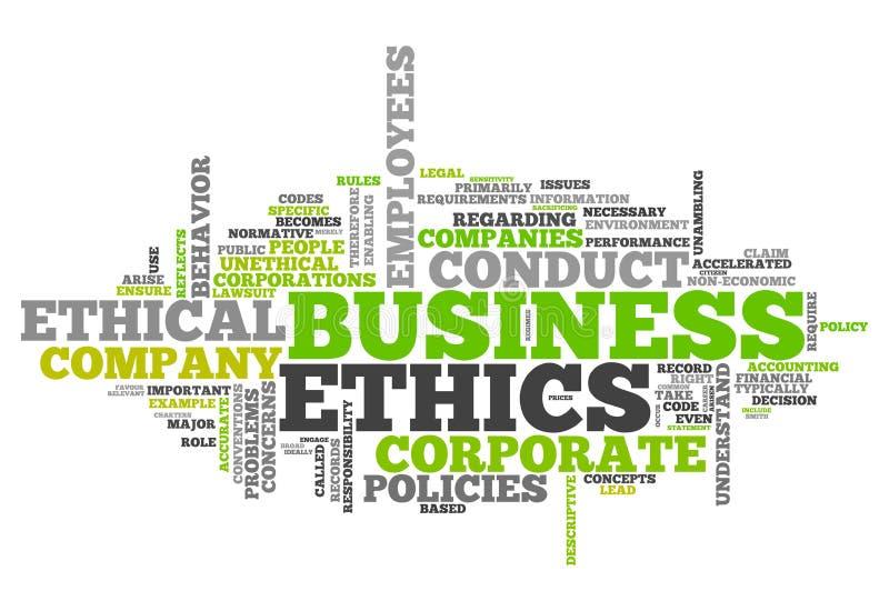 Ética empresarial de la nube de la palabra ilustración del vector