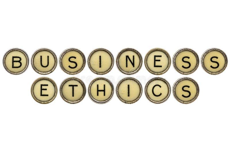 Ética empresarial en llaves de la máquina de escribir fotografía de archivo libre de regalías