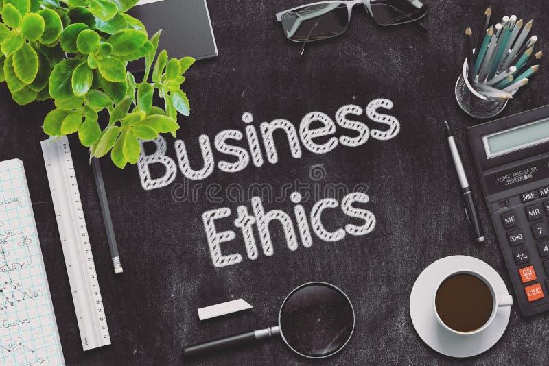 Ética empresarial - texto en la pizarra negra representación 3d fotografía de archivo libre de regalías