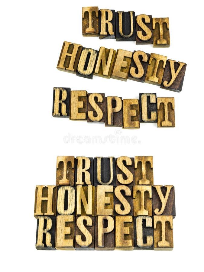 Éticas do respeito da honestidade da confiança imagem de stock royalty free