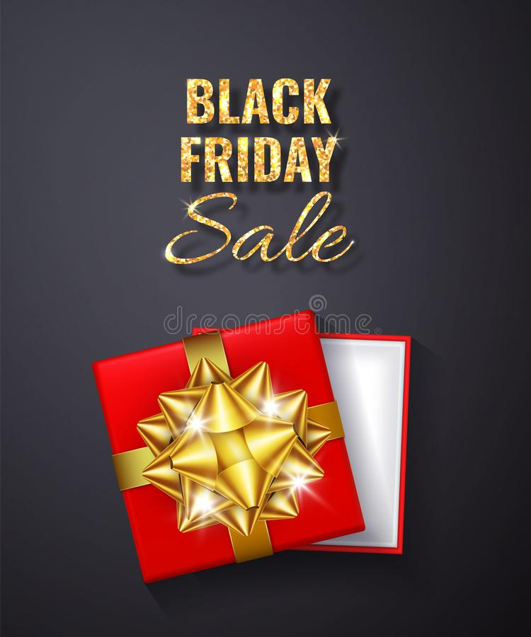 Étincelle d'or de scintillement de vente de Black Friday Boîte-cadeau rouge ouvert avec l'arc d'or et la vue supérieure de ruban  illustration de vecteur