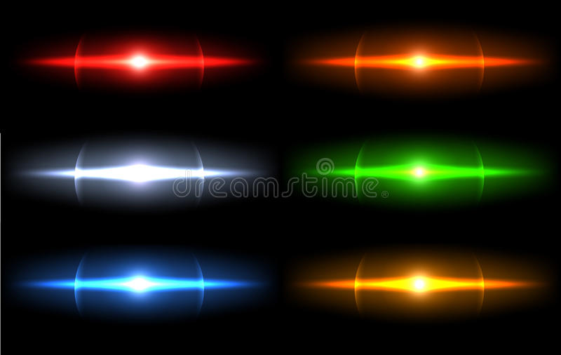 Étincelle légère réaliste d'éclat, ensemble de point culminant Collection de belles fusées lumineuses de lentille Effets de la lu illustration libre de droits