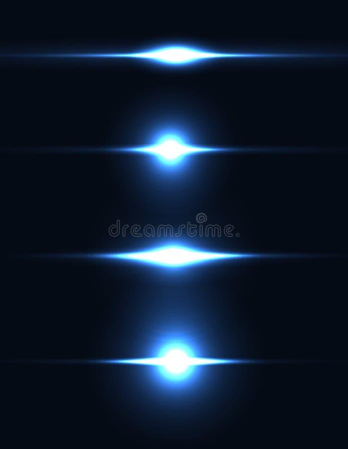 Étincelle légère réaliste d'éclat, ensemble de point culminant Collection de belles fusées lumineuses de lentille Effets de la lu illustration stock