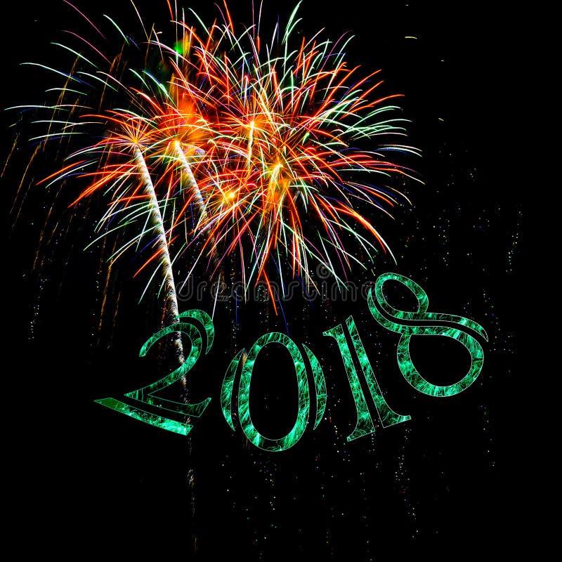 Étincelle verte de la bonne année 2018 de feux d'artifice image libre de droits