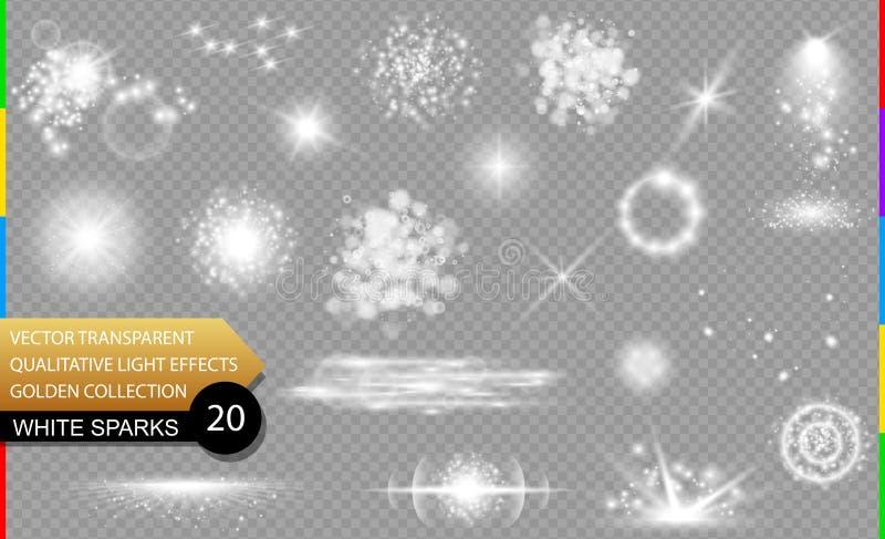 étincelles de blanc Ensemble transparent d'effet de la lumière de vecteur de lueur, transparent de fusée de lentille dans le form illustration stock