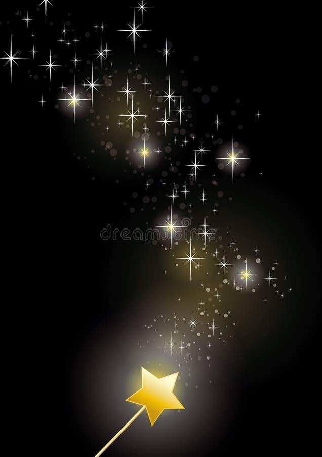 Étincelles de fée de baguette magique illustration de vecteur