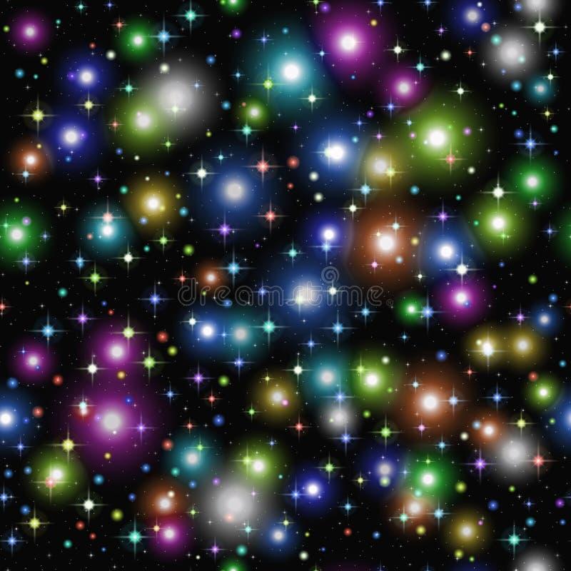 Étincelles et étoiles sur le noir, sans couture illustration de vecteur