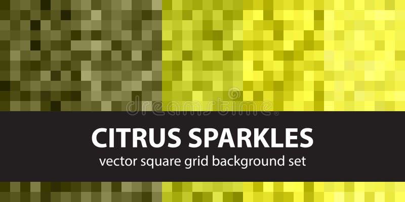 Étincelles réglées d'agrume de modèle de pixel CCB sans couture d'art de pixel de vecteur illustration stock