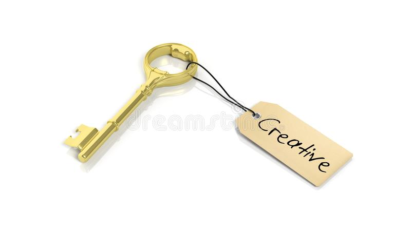 Étiquetez avec le mot Ceative sur la rétro clé d'or illustration stock
