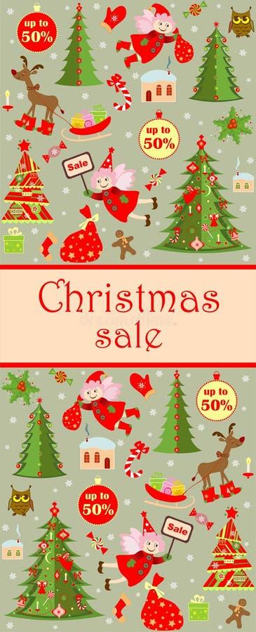 Étiquetez en vente de Noël avec le pain d'épice coupé drôle, elfe, sucrerie ; Arbre de Noël, renne ; hibou, houx et peu de maison illustration libre de droits