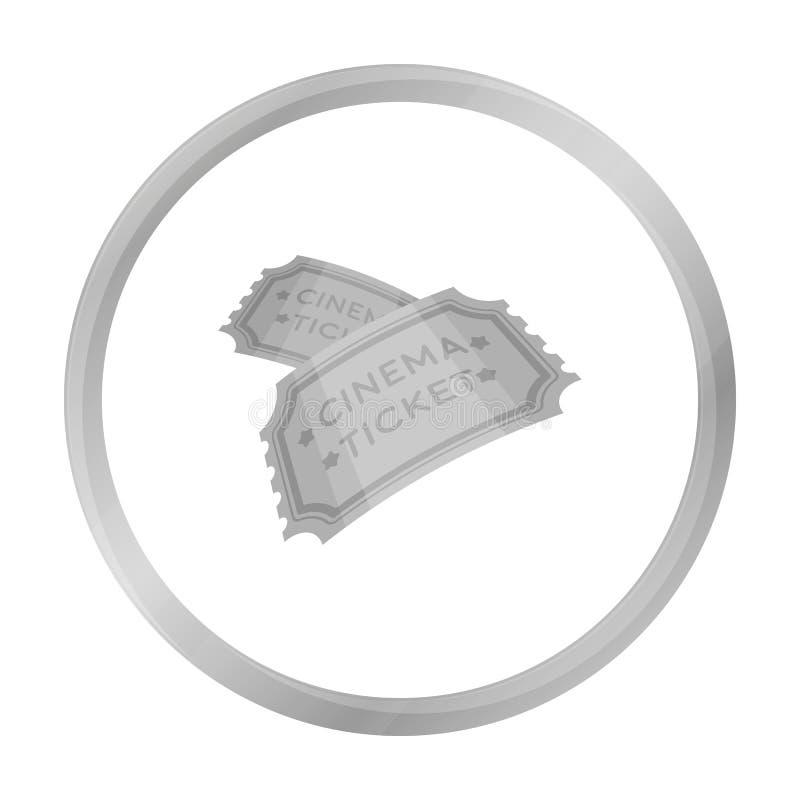 Étiquetez l'icône dans le style monochrome d'isolement sur le fond blanc Films et illustration de vecteur d'actions de symbole de illustration libre de droits