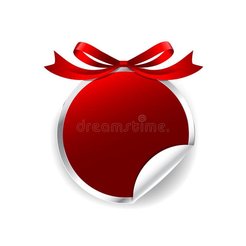 Étiquetez la bannière moderne d'insigne d'étiquette de cercle de rouge de la bannière 015 avec le ruban illustration de vecteur