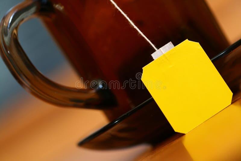 étiquetez le jaune de thé images libres de droits